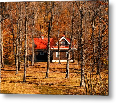 Secluded Red Roof Cottage In An Autumn Scene Metal Print by Chantal PhotoPix