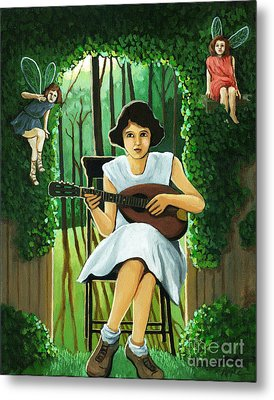 Secret Garden Fantasy Fairy Metal Print by Linda Apple
