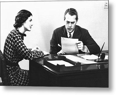 Secretary Assisting Businessman Reading Document At Desk, (b&w) Metal Print by George Marks