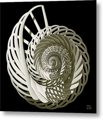 Self-referentially Braided Shell Metal Print by Manny Lorenzo