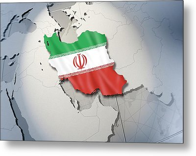 Shape And Ensign Of Iran On A Globe Metal Print by Dieter Spannknebel