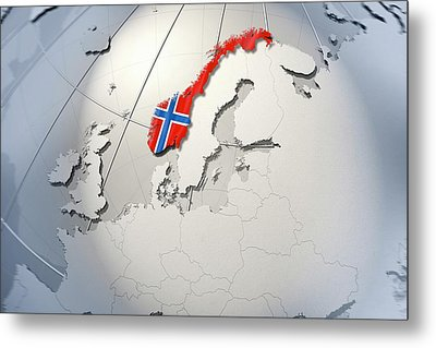 Shape And Ensign Of Norway On A Globe Metal Print by Dieter Spannknebel