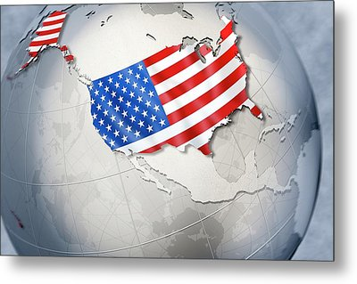 Shape And Ensign Of The Usa On A Globe Metal Print by Dieter Spannknebel