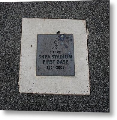 Shea Stadium First Base Metal Print by Rob Hans
