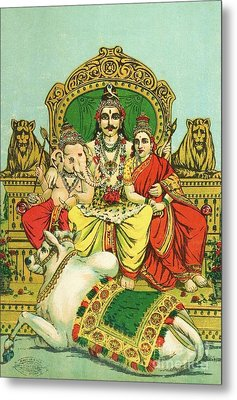 Shiva - Parvati Metal Print by Pg Reproductions