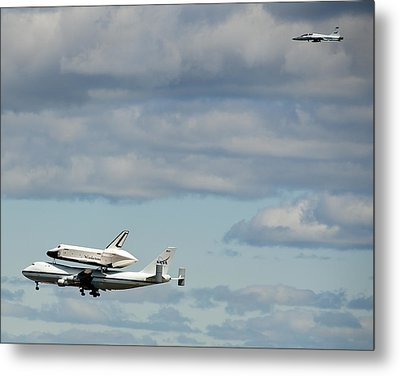 Shuttle Enterprise And Escort Metal Print by Roni Chastain