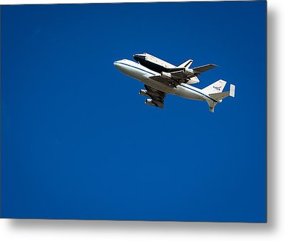 Shuttle Enterprise Through A Clear Sky Metal Print by Anthony S Torres