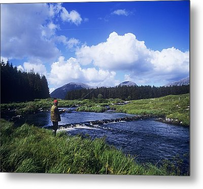 Side Profile Of A Man Fly-fishing In A Metal Print by The Irish Image Collection