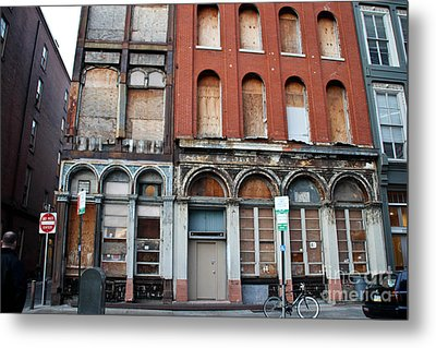 Silent City Store Fronts Metal Print by Extrospection Art
