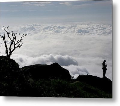 Silhouette Photographer With Group Of Clouds And Fogs Metal Print by Nawarat Namphon