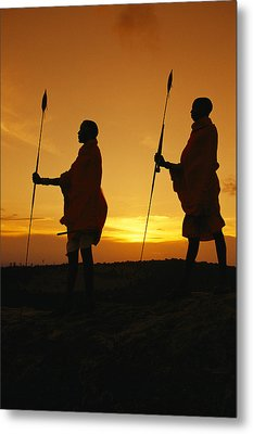 Silhouetted Laikipia Masai Guides Metal Print by Richard Nowitz