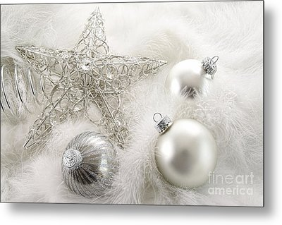 Silver Holiday Ornaments In Feathers Metal Print by Sandra Cunningham