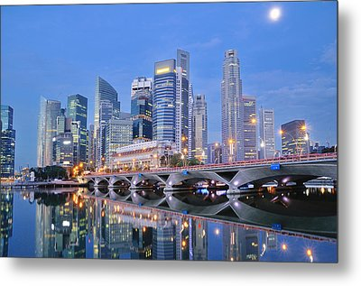 Singapore Central Business District Skyline Metal Print by Photo by Salvador Manaois III