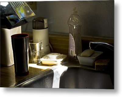 Sink After Roasting Coffee Metal Print by Larry Darnell