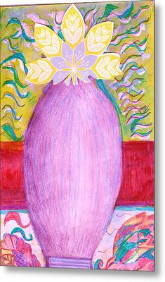 Sketched Vase With Imagined Flowers Metal Print by Anne-Elizabeth Whiteway