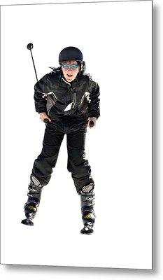 Skier Flying Metal Print by Susan Leggett