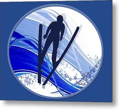 Skiing And Snowflakes Metal Print by Elaine Plesser