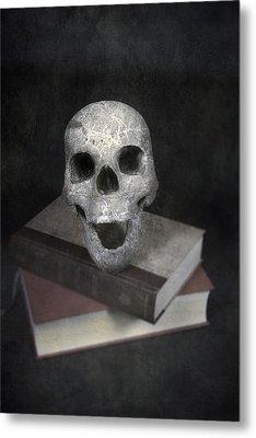 Skull On Books Metal Print by Joana Kruse