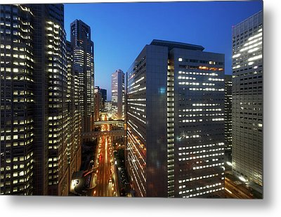Skyscrapers In Commercial District Of Tokyo Metal Print by Vladimir Zakharov