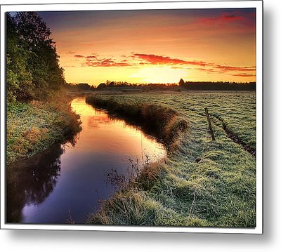 Small River At Sunrise Metal Print by H-L-Andersen