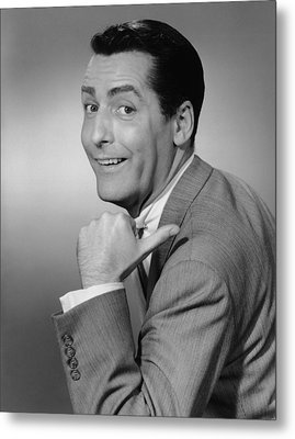 Smiling Man Pointing In Studio, (b&w), Portrait Metal Print by George Marks