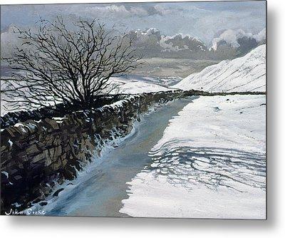 Snow Above Barbondale - Barbon Metal Print by John Cooke