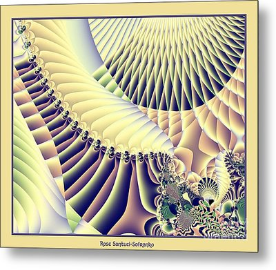 Snow Capped Mountains And Verdant Valleys Fractal 156 Metal Print by Rose Santuci-Sofranko