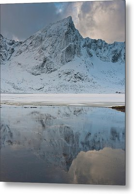 Snow Covered Mountain Reflected In Lake Metal Print by © Peter Boehi