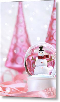 Snow Globe With Pink  Trees Metal Print by Sandra Cunningham