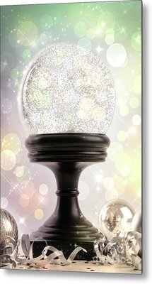 Snowglobe With Ornaments Against Colored Background Metal Print by Sandra Cunningham