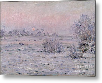 Snowy Landscape At Twilight Metal Print by Claude Monet