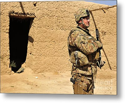 Soldier Stands Guard During A Routine Metal Print by Stocktrek Images