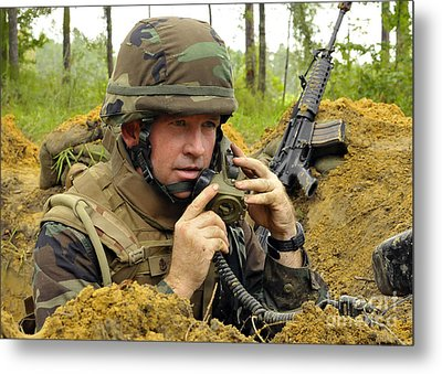 Soldier Using A Ta-1 Sound Powered Metal Print by Stocktrek Images