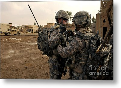 Soldiers Help One Another Metal Print by Stocktrek Images