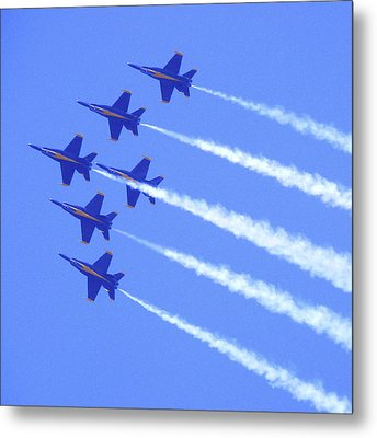 Souring With The Blue Angles Metal Print by Mike McGlothlen