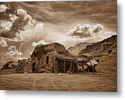 Southwest Indian Rock House And Lightning Striking Metal Print by James BO  Insogna