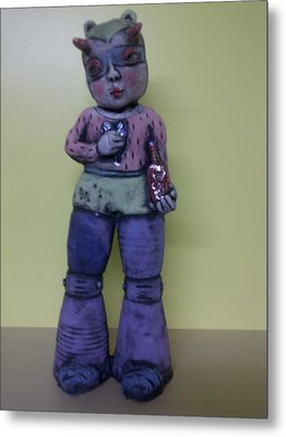 Space Girl With Tincture Bottle Metal Print by Kathleen Raven
