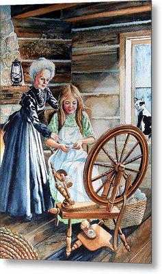 Spinning Wheel Lessons Metal Print by Hanne Lore Koehler