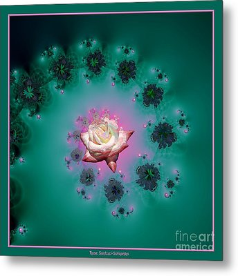Spiral To A Rose Fractal 140 Metal Print by Rose Santuci-Sofranko