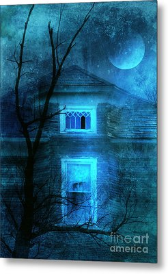 Spooky House With Moon Metal Print by Jill Battaglia