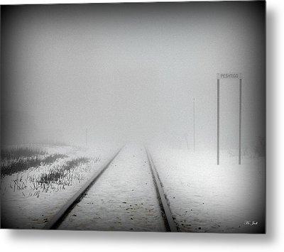 Spooky Train Tracks Metal Print by Ms Judi