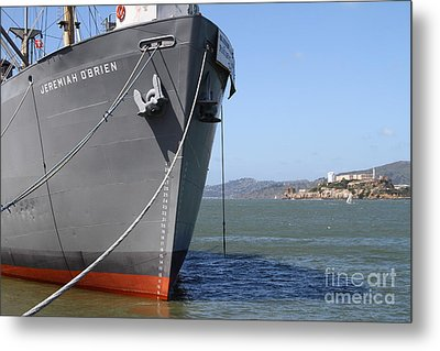 Ss Jeremiah Obrien Liberty Ship At Fishermans Wharf With Alcatraz In The Distance . Sf Ca . 7d14437 Metal Print by Wingsdomain Art and Photography
