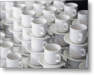 Stacks Of Cups And Saucers Metal Print by Tobias Titz