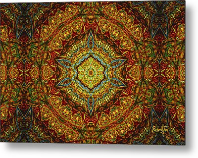 Stained Glass Gas Ring Mandala Metal Print by Richard H Jones