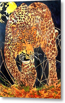 Stalking Leopard Metal Print by Mike Holder