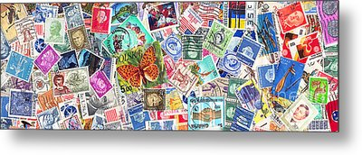 Stamp Collection . 3 To 1 Proportion Metal Print by Wingsdomain Art and Photography