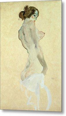 Standing Female Nude Metal Print by Egon Schiele