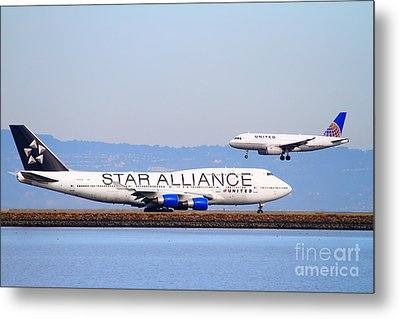 Star Alliance Airlines And United Airlines Jet Airplanes At San Francisco International Airport Sfo  Metal Print by Wingsdomain Art and Photography
