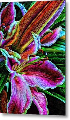 Stargazer Lilies Up Close And Personal Metal Print by Bill Tiepelman