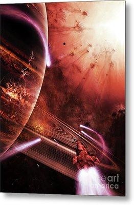 Starships Hone Their Skills Metal Print by Brian Christensen